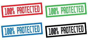100 PERCENT  PROTECTED text, on rectangle border stamp sign. 100 PERCENT  PROTECTED text, on rectangle border stamp sign, in color set Stock Photos