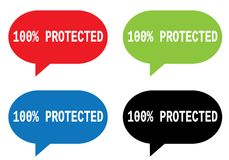 100 PERCENT  PROTECTED text, on rectangle speech bubble sign. 100 PERCENT  PROTECTED text, on rectangle speech bubble sign, in color set Stock Photos