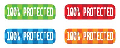 100 PERCENT  PROTECTED text, on rectangle, zig zag pattern stamp Stock Photography