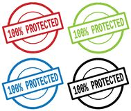 100 PERCENT PROTECTED text, on round simple stamp sign. 100 PERCENT PROTECTED text, on round simple stamp sign, in color set Royalty Free Stock Image