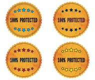 100 PERCENT PROTECTED text, on round wavy border vintage, stamp. 100 PERCENT PROTECTED text, on round wavy border vintage stamp badge, in color set vector illustration
