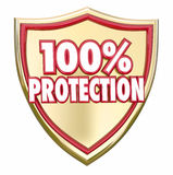 100 Percent Protection Shield Safety Security Insurance. 100 Percent Protection words in 3d letters on a gold shield to illustrate safety and security from Royalty Free Stock Photo