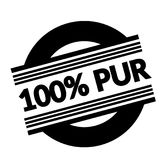 100 percent pure stamp on white. 100 percent pure black stamp in french language. Sign, label, sticker Royalty Free Illustration