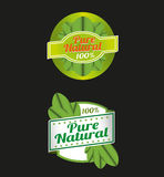 100 Percent Pure Nature Green Sign Label Royalty Free Stock Images
