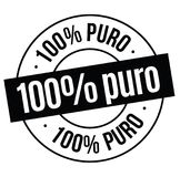 100 percent pure stamp on white. 100 percent pure bl ack stamp in spanish language. Sign, label, sticker Vector Illustration