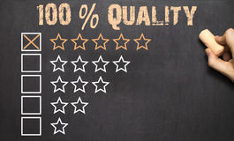 100 Percent Quality five golden stars.Chalkboard. 100 Percent Quality five golden stars on Chalkboard Royalty Free Stock Photography