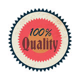 100 percent quality label, vintage style Royalty Free Stock Photos