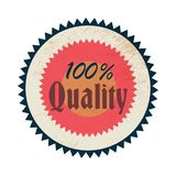 100 percent quality label, vintage style. 100 percent quality label in vintage style on a white background Stock Photo