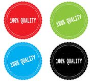 100 PERCENT QUALITY text, on round wavy border stamp badge. 100 PERCENT QUALITY text, on round wavy border stamp badge, in color set Royalty Free Illustration