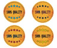 100 PERCENT  QUALITY text, on round wavy border vintage, stamp b. 100 PERCENT  QUALITY text, on round wavy border vintage stamp badge, in color set Vector Illustration