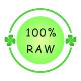 100 percent raw label. Raw food sign stock illustration