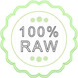 100 percent raw label. Raw food sign Royalty Free Stock Photos