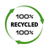 100 percent recycled arrows sign Stock Photo