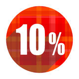 10 percent red flat icon. Isolated Stock Photos