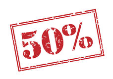50 percent red stamp. On white background Royalty Free Stock Image