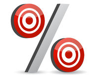 Percent red symbol with conceptual targets Stock Photos