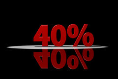 40 percent, red text, 3D Rendering with reflection. On Black background Stock Photos