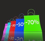 Percent Reduced On Shopping Bags Shows Bargains Stock Photography
