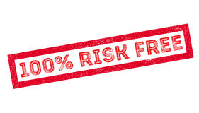 100 percent risk free rubber stamp. On white. Print, impress, overprint Stock Photo