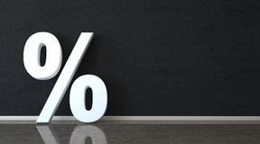 Percent In The Room. White percent on the black wall Stock Image