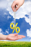 Percent on the rope. And hand in down. Percentage theme Stock Photos