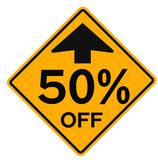 50 percent sale attention plate. Road sign design for retail business poster Stock Images