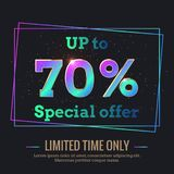 70 Percent Sale Background with colorful gradient numbers. Up to 70 Percent Sale Background. Colorful trendy gradient numbers. Lettering - Special offer for vector illustration