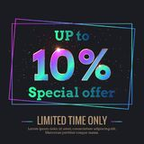 10 Percent Sale Background with colorful gradient numbers stock illustration