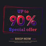 90 Percent Sale Background with colorful gradient numbers. Up to 90 Percent Sale Background. Colorful trendy gradient numbers. Lettering - Special offer, Shop royalty free illustration
