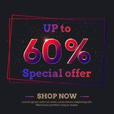 60 Percent Sale Background with colorful gradient numbers. Up to 60 Percent Sale Background. Colorful trendy gradient numbers. Lettering - Special offer, Shop stock illustration