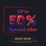 50 Percent Sale Background with colorful gradient numbers. Up to 50 Percent Sale Background. Colorful trendy gradient numbers. Lettering - Special offer, Shop stock illustration
