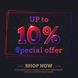 10 Percent Sale Background with colorful gradient numbers. Up to 10 Percent Sale Background. Colorful trendy gradient numbers. Lettering - Special offer, Shop vector illustration