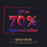 70 Percent Sale Background with colorful gradient numbers. Up to 70 Percent Sale Background. Colorful trendy gradient numbers. Lettering - Special offer, Shop stock illustration