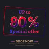 80 Percent Sale Background with colorful gradient numbers. Up to 80 Percent Sale Background. Colorful trendy gradient numbers. Lettering - Special offer, Shop stock illustration