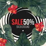 50 percent sale background with exotic rainforest greenery. Huge dark green alocasia leaves and beautiful red hibiscus flowers vector illustration Stock Images