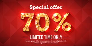 70 Percent Sale Background with golden glowing numbers. 70 Percent Bright Red Sale Background with golden glowing numbers. Lettering - Special offer for limited royalty free illustration