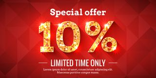 10 Percent Sale Background with golden glowing numbers. 10 Percent Bright Red Sale Background with golden glowing numbers. Lettering - Special offer for limited stock illustration
