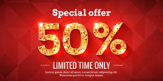 50 Percent Sale Background with golden glowing numbers. 50 Percent Bright Red Sale Background with golden glowing numbers. Lettering - Special offer for limited stock illustration