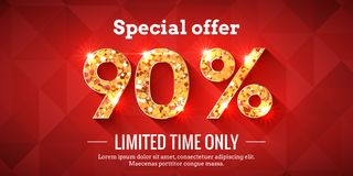 90 Percent Sale Background with golden glowing numbers. 90 Percent Bright Red Sale Background with golden glowing numbers. Lettering - Special offer for limited royalty free illustration
