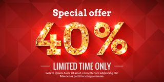 40 Percent Sale Background with golden glowing numbers. 40 Percent Bright Red Sale Background with golden glowing numbers. Lettering - Special offer for limited royalty free illustration