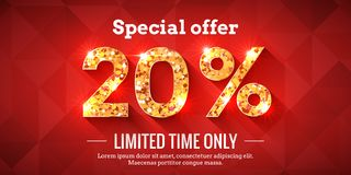 20 Percent Sale Background with golden glowing numbers. 20 Percent Bright Red Sale Background with golden glowing numbers. Lettering - Special offer for limited stock illustration