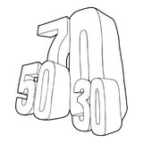 30, 50, 70 percent sale icon, outline style. 30 and 50 and 70 percent sale icon. Outline illustration of 30 and 50 and 70 percent sale icon for web vector illustration