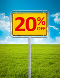 20 percent sale. An image of a german city sign with the text 20 percent sale Stock Images