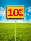 10 percent sale. An image of a german city sign with the text 10 percent sale Stock Photo