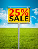 25 percent sale. An image of a german city sign with the text 25 percent sale Stock Photos