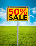 50 percent sale. An image of a german city sign with the text 50 percent sale Stock Image