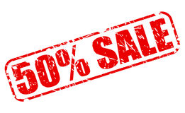 50 PERCENT SALE red stamp text. On white Stock Photography
