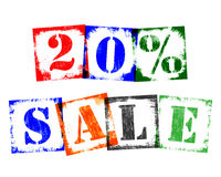 20 Percent Sale from Stamp Letters, Retro Grunge Design Royalty Free Stock Photography
