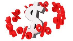 Percent satellites. Discount orbit around the dollar symbol Stock Photos