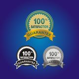 100 percent satisfaction badge. Suitable for user interface stock illustration